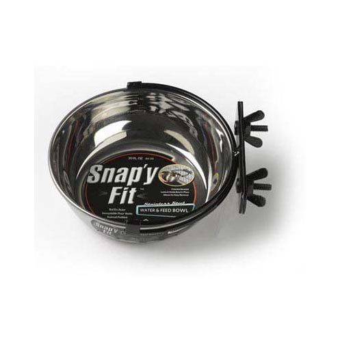 Stainless Steel Snap'y Fit Water and Feed Bowl 20 oz