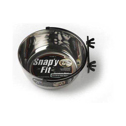 Stainless Steel Snap'y Fit Water and Feed Bowl 2 quart