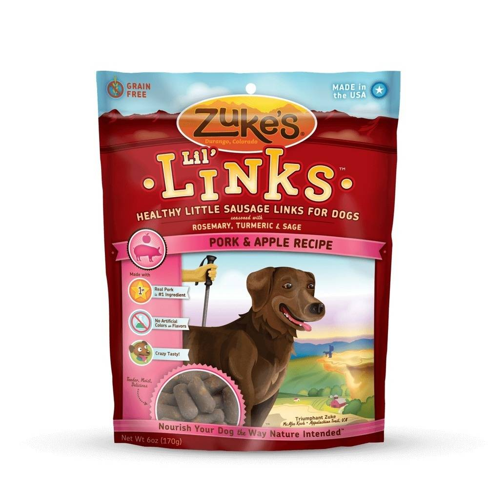 Lil' Links Healthy Grain Free Little Sausage Links for Dogs Pork and Apple